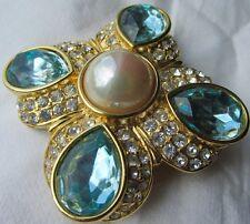 RARE VINTAGE Designer pendant brooch, Nolan Miller Costume jewelry,Blue Crystals