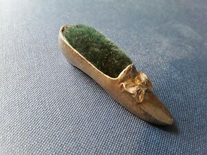 Vintage shoe pewter pin cushion