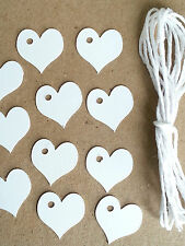 25/50/100 Small White Heart Gift Hang Tags Labels Crafts + String