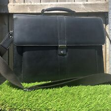 Jasper Conran Black Leather Laptop Briefcase Bag Case Man Office