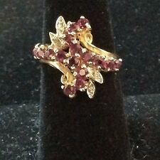 VINTAGE 14K RUBY AND DIAMOND RING SIZE 7