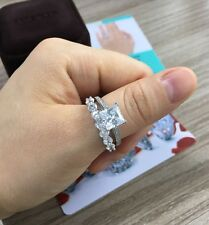 3.72Ct Princess Cut Engagement Ring w Matching Wedding Band 14K Solid White Gold