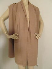 NEW ST JOHN KNIT WOMENS ONE SIZE TAN BISCUIT KNIT SHAWL WRAP WOOL RAYON