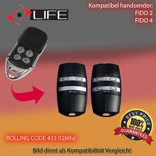 2X LIFE FIDO 2, LIFE FIDO 4, VIP2, VIP4 433.92MHz Kompatibel Handsender ersatz