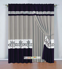 4 Stripe Felt Scroll Floral Leaf Curtain Set Purple Gray Off-White Valance Drape