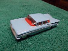 1959 Chevy Impala Flatroof Corgi Toy 1/43 Blue/Red Int 4-Door Hardtop Avg Cond