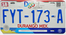 Durango Original Used Expired Mexico License Plate FYT