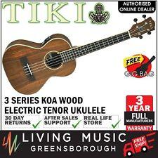 NEW Tiki Koa Wood Electric Tenor Ukulele with Gig Bag (Natural Satin)