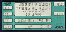 Def Leppard Ticket Stub University of Illinois Dec 6 1992 Free Shipping