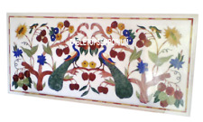 4'x2' White Marble Dining Side Table Top Marquetry Peacock Art Inlay Home Decor
