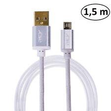 Cable Nylón Trenzado USB a MICRO USB 1,5 M.Conectores Bañados  Oro. v369