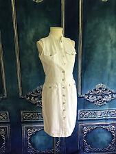 Ralph Lauren JEANS CO. White Denim Shirt Dress SZ 8 Mock Neck Button Down Fitted