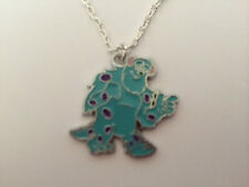 """MONSTER INC SCULLEY ENAMEL PENDANT 16"""" Silver plated Necklace  Boys girls Gift"""
