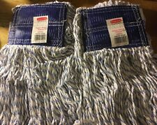 2 Super Stitch Finish Mops, Cotton/Synthetic, White, Large, 5-in. Blue Headband