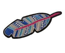 EMBROIDERED APPLIQUE - IRON ON - BLUE & PINK FEATHER..........A001