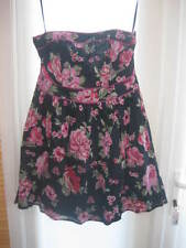 BNWT LADIES FLORAL BONED STRAPLESS DRESS - CHARCOAL GREY & PINK FLORAL - SIZE 12