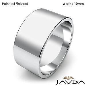 10mm Flat Pipe Cut 14k White Gold Men's Plain Wedding Band Ring 11.2g 12-12.75