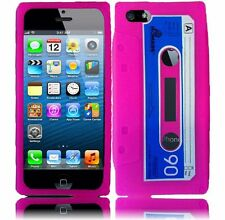 Apple iPhone 5 5S SE Rubber SILICONE Soft Gel Skin Case Cover Hot Pink Cassette
