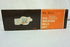 Vintage Old Dutch 5 Piece Solid Copper Miniature Mold Set  w/ Hanging Rack, Box
