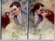 FAVRE Lotto 2 cartoline Amanti Donnine Liberty Glamour Lovers PC Circa 1910 2