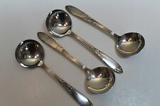 4 National Silver Co King Edward Silverplate Round Bowl Bouillon Soup Spoons