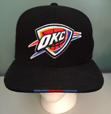 Oklahoma City Thunder Black  Mitchell & Ness Super Stripe Fitted Hat 7 1/2