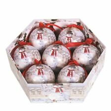 Snowman Design Gift Box of 7 Christmas Tree Baubles