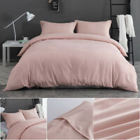 3PCS Duvet Cover Set Quilt Cover Pillowcase Bedding Set Queen Microfiber Pink US