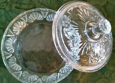 Vintage Avon Round Covered Clear Powder/Candy/Trinket Dish with Lid Cut Glass