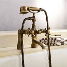 Luxury Bathtub Mixer Tap Antique Brass Hand Shower With Deck Mounted Faucet