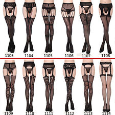 Women Black Striped Sheer Suspender Tight Crotchless Pantyhose Stocking Lingerie