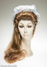 Colonial Mob Cap White Chiffon & Poly Satin Ruffled Bonnet With Bow Costume Hat