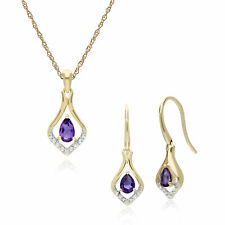 9ct Yellow Gold Amethyst & Diamond Leaf Drop Earring & 45cm Necklace Set