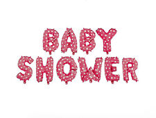 """Pink BABY SHOWER Balloon Banner Stars Metallic Foil Girl Party Decorations 16"""""""