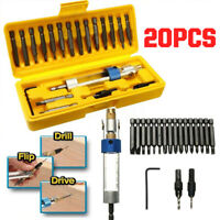 20PCS/Set Portable Countersink Drill Bit HSS Screwdriver Tools Kit Flip Drive