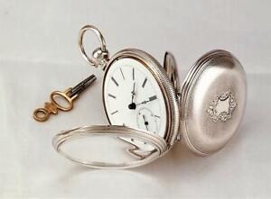 1800s LONGINES 15 Jewels KEY WIND POCKET WATCH in ORIGINAL FINE SILVER CASE RUNS