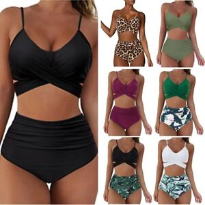 Damen Badeanzug Gepolstert Bikini Set Leopard Bikini High Waist Wickel Badeanzug