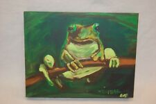Diane Whitehead Canvas Art Print Green Frog Painting Branch Embellished Nature