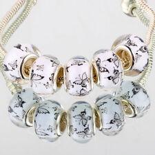 Simple butterfly 5pcs SILVER MURANO bead LAMPWORK For European Charm Bracelet