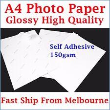 10 Sheets A4 Size 150gsm Glossy Self Adhesive Photo Paper Inkjet Printer