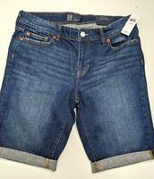 "New Gap Women's 9"" Stretch Mid Rise Dark Wash Bermuda Shorts Size: 2/26"