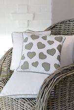 Grey Hearts Cushion - 30x30cm Square White Cushion with Grey Hearts (11SS98)