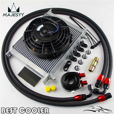 "Universal 30 Row engine Transmission 8AN Oil Cooler KIT+ 7"" Electric Fan Kit BK"