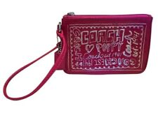 NEW Coach Poppy Ruby and Pink Patent leather Graffiti wristlet NWT