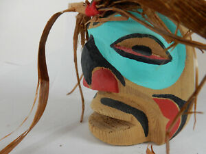 Northwest Hand Carved, Painted Wooden Mask, Signed Wood Carving Indigenous Art