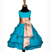 TURQUOISE BLUE GOLD FLOWER GIRL DRESS 4 6 8 10 12 13/14