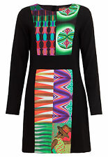 New RRP £114 Desigual Evanon Dress 40 Black Bright Pattern Panel Long Sleeve