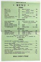 1950's Original Vintage Menu WALL DRUG STORE Gift Shop Eatery Wall South Dakota