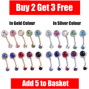Belly Bar Surgical Steel Navel Bar Button Ring Double Crystal Gem Belly Bars UK
