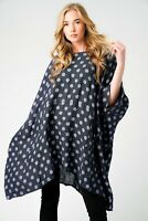Ladies Oversized Italian Boxy Polka Dot/Plain Linen Lagenlook 2 Pocket Tunic Top